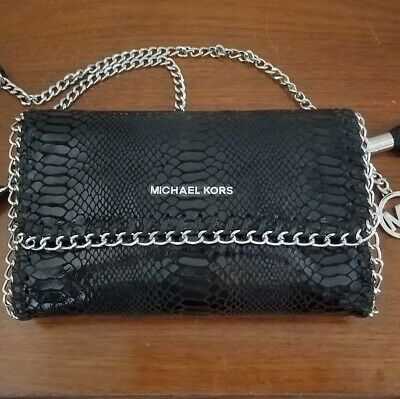 70bf3817634c Black Michael Kors Chelsea Python Embossed Leather Clutch Crossbody Silver  Chain