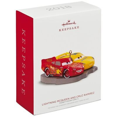 2018 Hallmark LIGHTNING MCQUEEN AND CRUZ RAMIREZ Disney Pixar CARS 3 ORNAMENT