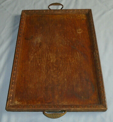 Fine Antique Oak Butlers Maids Tray by St DunStans WWI Military Veterans 1918