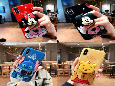 Cartoon Phone Case With Pop Up Holder Socket Grip iPhone 6 7 8 Plus X XS XR MAX