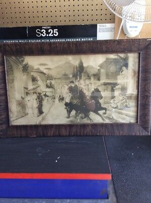 Antique extremely old vintage picture and frame original glass E Forty Roma