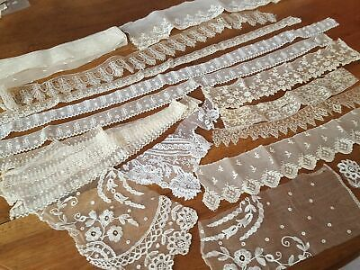 Lot de fine dentelle ancienne dont application d'Angleterre - 11a