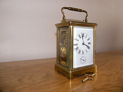French 5 glass 3 barrel repeat, strike, alarm trademarked carriage clock GWO