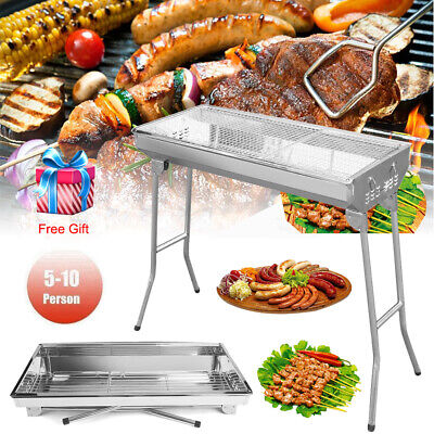 Folding Charcoal BBQ Grill Camping Garden Stainless Steel Barbecue Cooking Stove