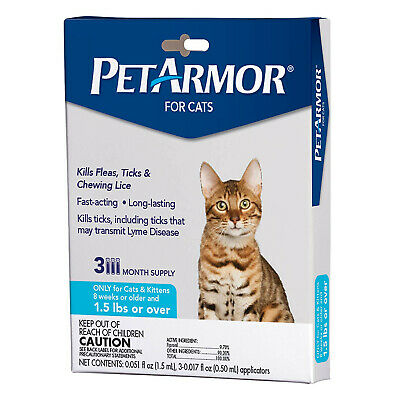PETARMOR for Cats, Flea & Tick Treatment (Over 1.5 Pounds) 3 Month Supply
