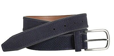 Mens Johnston & Murphy Perforated Belt - Navy Suede [75-7355]