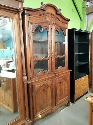 Fabulous 19Th Century French Pitch Pine Carved Glazed To Pdresser Linen Cupboard