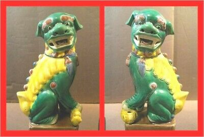 """Vintage Pair 8"""" Chinese Imperial Guardian Lions Foo Dogs Porcelain Green Yellow"""