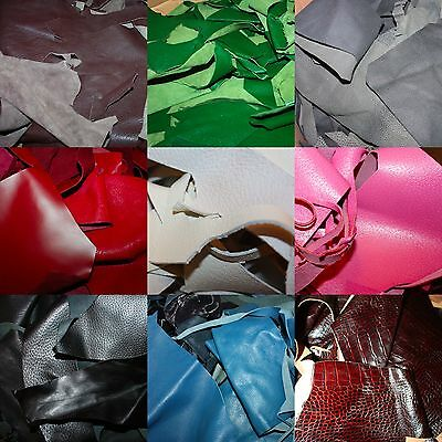 SALE! 1kg kilo BEST QUALITY Mixed Colour Calf Skin Leather Offcuts Craft Bundle