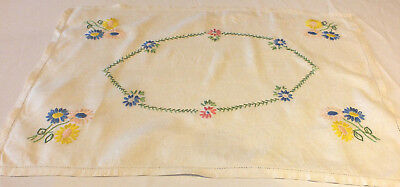 Vintage hand embroidered linen table runner / tray cloth with floral multicolour