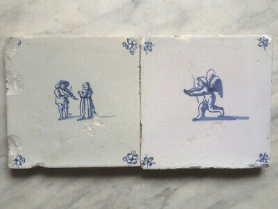 Antique 2 X Dutch Delft Tile Angel + People Playing Violin 17TH C.