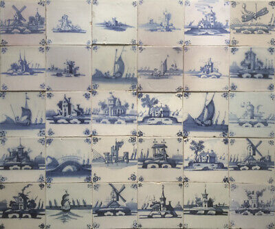 Antique Large Set of 30 Dutch Delft Tile Landscape-Scenes Dragon-Fly 17TH/18TH C