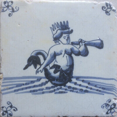 Antique Dutch Delft Tile Sea-Creature Neptune First Half 17TH C.