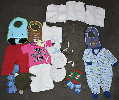 baby boy girl clothes bundle job lot newborn 0-3 months 21 items all in one bibs