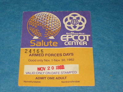 Vtg ARMED FORCES DAYS NOV 1982  WALT DISNEY WORLD EPCOT CENTER TICKET STUB 24165