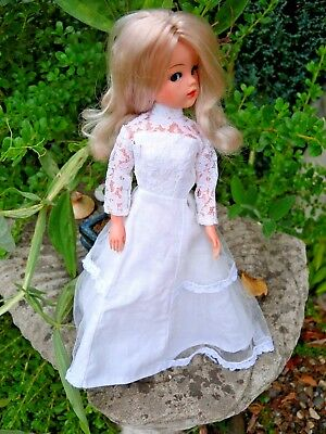 Vintage Sindy wedding? dress white cotton with net overlay popper fasteners