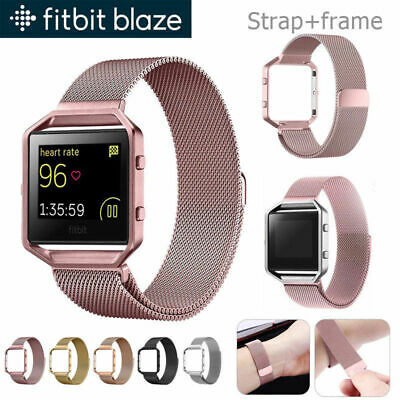 For Fitbit Blaze Milanese Magnetic Stainless Steel Wrist Band Strap +Metal Frame