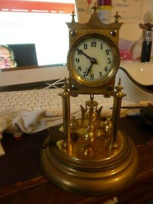 1900's 'Badische' German 400-Day Anniversary Clock in Glass Dome Complete