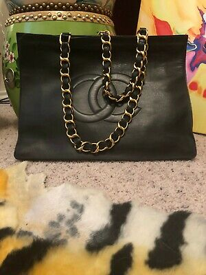 6735bc0e5fd2 CHANEL VINTAGE TORTOISE Shell Chain Strap Quilted Leather Black Tote ...