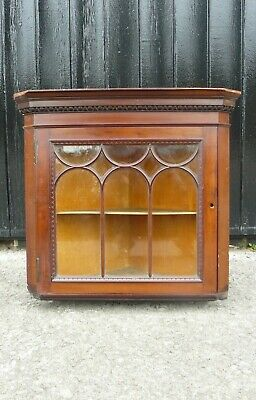 Small Edwardian Antique Glazed Corner Cabinet