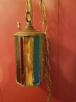 Vintage Hanging Stained Slag Glass Mission Arts & Crafts Swag Lamp Light