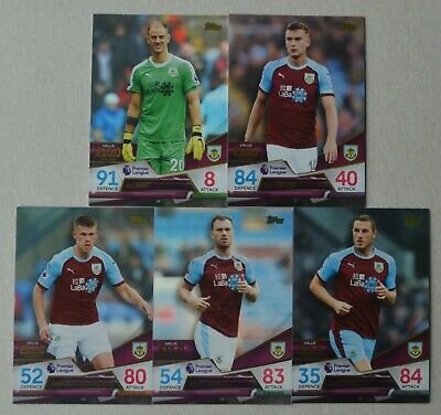 2018/19 Match Attax Ultimate;  Burnley -   5 Base Cards (Full Set)