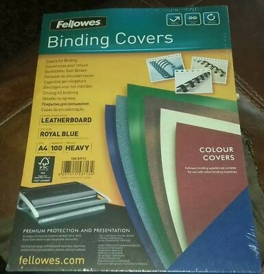 fellows binding covers 100 BRAND NEW AND SEALED A4 HEAVY ROYAL BLUE LEATHERBOARD
