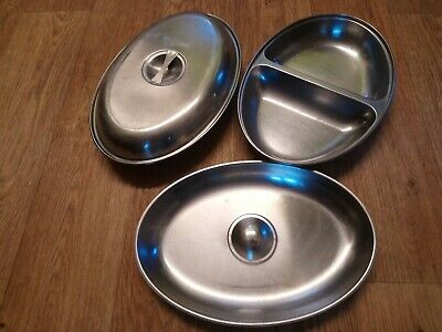 2 X Large Stainless Steel Serving Dishes... Free Postage!!