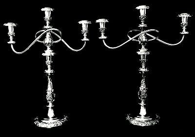 Matched Pair of Triple Arm Silver Plate Candelabra, Heritage, 1847 Rogers Bros