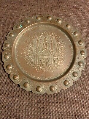 Antique Islamic Middle Eastern Persian Asian Tinned Copper Plate - Very Old-Rare
