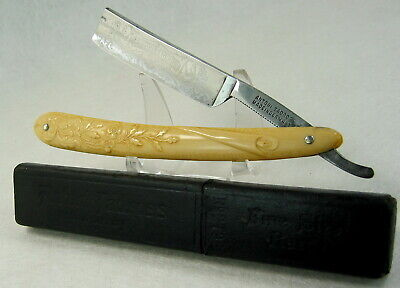 "Antique Antoni Tadross ""2627"" Straight Razor Fancy Etched Angels Germany Box"