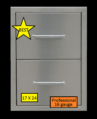 """BBQ 304 STAINLESS STEEL 16 gauge DOUBLE DRAWER OUTDOOR KITCHEN """"BEST QUALITY"""""""