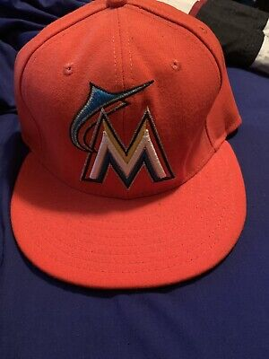 meet ce45c ff7cc MIAMI MARLINS Road New Era 5950 MLB On Field Baseball Cap Orange MLB Fitted  Hat