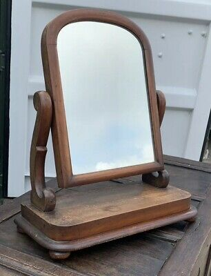 Antique 19th C Regency Mahogany Framed Dressing Table Toilet Mirror Stand