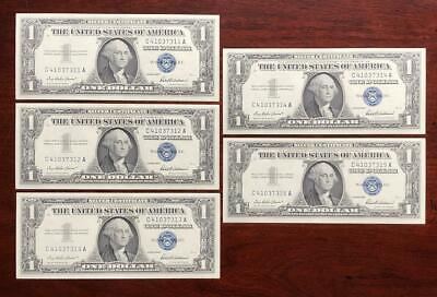 5 Consecutive 1957 $1 Silver Certificates * Uncirculated Notes *