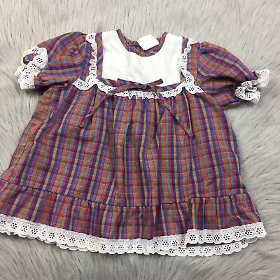 Vintage Toddler Baby Girls Rainbow Plaid Ruffle Frilly Lace Dress