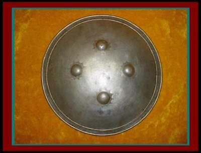 Old AUTHENTIC Antique INDO PERSIAN Engraved WAR SHIELD / Dhal with Silver Inlay