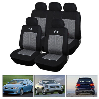 Car Seat Covers Full Set 9PCs Universal Front&Rear Head Rest Protector Seat Back