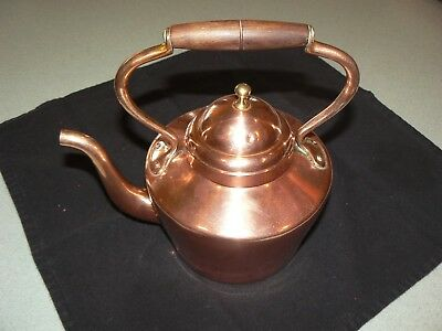 Vintage Polished Italian Copper Teapot with Wood Handle Made in Italy
