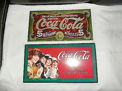 2 vintage coca cola metal signs.... Very Nice great for man cave or game rooms