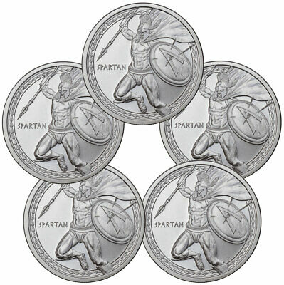 Lot of 5 - Golden State Mint Spartan 1 oz Silver Round 2019 AG 5oz total