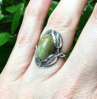 Antique Arts & Crafts Sterling Silver Green Turquoise Ring Leaf Motif, Sz 6.25