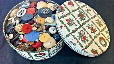 Vintage Button Collection Unsearched Estate Lot in Xmas Tin Sold As Found 3+ lbs