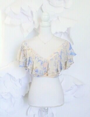 Free People Off Shoulder Ruffle Crop Top Women's 6 M Floral Boho Festival NWT
