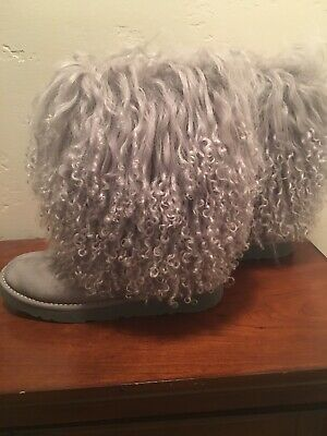 54eec84e4 UGG LIDA CURLY Mongolian Sheepskin Suede Black Boot With The Fur ...