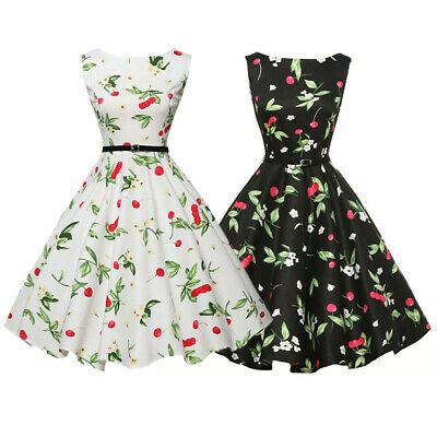 96e97329dd7 Womens 50s 60s Style Vintage Retro Floral Print Rockabilly Swing Dress With  Belt