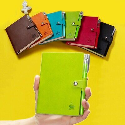 A6 Mini Leather Lined Journal Pocket Size Ruled Diary Notebook with Free Pen