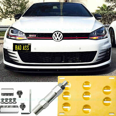 Gold License Plate Bumper Mount Bracket Tow Hook For VW MK7 Golf GTi 2015-2018