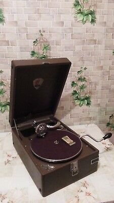 """Vintage USSR GRAMOPHONE PHONOGRAPH Portable Record Player MOLOT 1940""""s (EX)"""