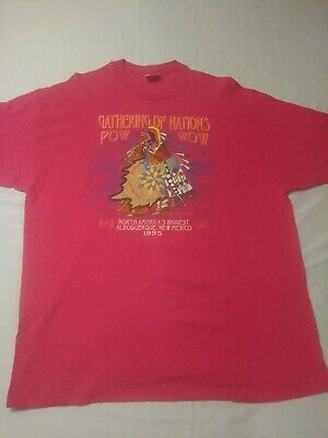 Native American Size Xxl/2Xl 1995 Pow-Wow Pink All Over Graphic T-Shirt Vintage
